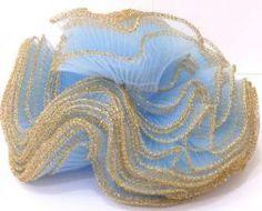 Jabo Azul Bebê Ourela Dourada- Peça com 10M
