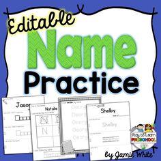 Name Practice - Editable *Set 1 by Play to Learn Preschool Name Writing Activities, Name Writing Practice, Preschool Literacy, Writing Worksheets, Kids Writing, Writing Ideas, Kindergarten Units, Preschool Teachers, Montessori Education