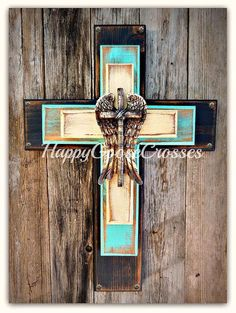 Wall Cross - Wood Cross - Small - Rustic Antiqued Black, Turquoise, and Beige, Rustic Wings Wooden Crosses, Crosses Decor, Wall Crosses, Mosaic Crosses, Cross Wall Decor, Cross Crafts, Western Furniture, Wood Wall Art, Wood Artwork