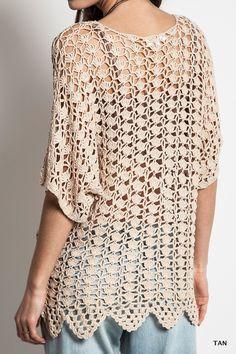 Crochet Knit Short Sleeve Top