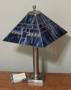 Stained Glass Table Lamp Shade Blue Streaky Glass in by GloryGlass