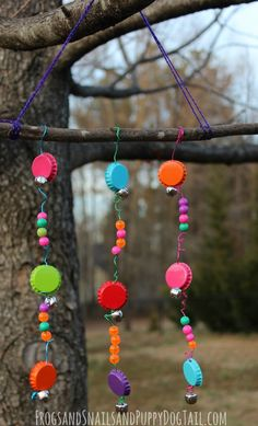 Bottle Cap Wind Chimes: Perfect spring kids activity