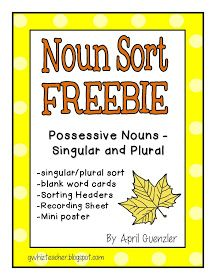 gwhizteacher, autumn noun sorts, noun sort freebie, singular/plural possessive nouns
