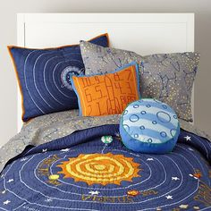 "My son calls his room a ""space room.""  This would work perfectly in the ""space"" I hope inspires him to dream big and beyond...  The Land of Nod Kids Blue Solar System Bedding in Boy Bedding"