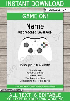 Xbox Party Invitations Template
