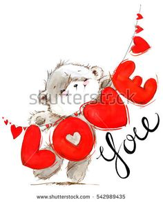 Cute Teddy Bear Pics, Teddy Bear Pictures, Valentines Day Teddy Bear, Valentine Day Love, Watercolor Cards, Watercolor Background, Cartoon Drawings, Cute Drawings, Birthday Clipart