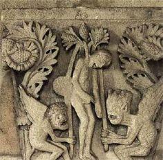 Judas, medieval sculpture by Gislebertus Romanesque Sculpture, Romanesque Art, Statues, Art Roman, Ancient Goddesses, Masonic Symbols, Art Antique, Biblical Art, Religious Architecture