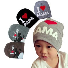 1Pcs Quality Soft Newborn Baby Hats Cotton Beanie Photography Props Kid Costumes Knitted I LOVE MOM/DAD Children Boy Caps #Affiliate