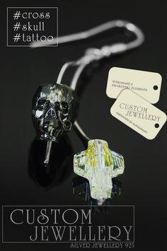 Kolejna propozycja na kolczyki z kryształków #Swarovski Elements.  Coś dla wielbicieli #czaszek #krzyży i #tatuaży . #Nowość jeszcze niedostępne #koraliki #cross #skull #tattoo w sklepie ale już w lutym zapraszamy do sklepu #customjewellery.pl #diy