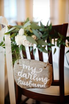 Adorable groom's chair: http://www.stylemepretty.com/new-jersey-weddings/avalon/2015/04/07/new-jersey-nautical-yacht-club-wedding/ | Photography: Alison Conklin - http://alisonconklin.com/