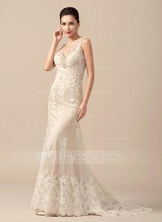 Trumpet/Sjöjungfru V-ringning Sweep släp Tyll Bröllopsklänning med Pärlbrodering (002066958)