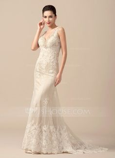 Trumpet/Mermaid V-neck Sweep Train Tulle Lace Wedding Dress With Beading (002066958)