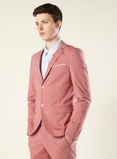 Pink Tick Stripe Skinny Suit Jacket - Top Man