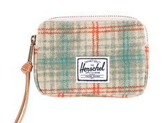 Herschel Supply Co. 'Oxford' Grey Plaid Zipped Pouch Wallet   Pure Luxuries