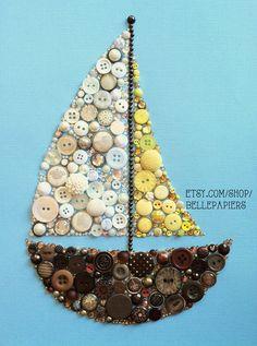 Button Art! Button Sailboat Swarovski Crystals and buttons #buttonart #buttons #swarovski #art #nursery #handmade #diy #crafts #babyshower #baby #babygift #biddaygift #sorority #wallart #homedecor #swarovskirhinestones #sigmasigmasigma #trisigma #sailboat