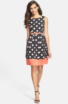 Eliza J Belted Polka Dot Crêpe de Chine Fit & Flare Dress (Regular & Petite)