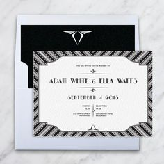 Bespoke design Great Gatsby themed Invitation. Printed on triple layer card. Created by www.invitedto.co.uk