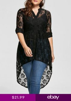 Feitong Plus Size Solid Top Blouse Women V Neck Long Sleeve Lace Shirt Perspective Button Up Blouse Loose Casual Female Tops /PY Curvy Fashion, Look Fashion, Plus Size Fashion, Girl Fashion, Womens Fashion, Cheap Fashion, Fashion Site, Fashion Online, Ladies Fashion