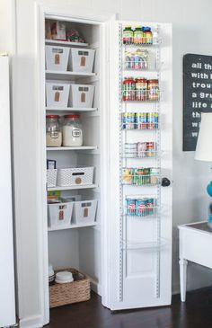 Small Pantry Makeover full of Inexpensive Organization - Lovely Etc. - - This small pantry makeover is full of simple and inexpensive ideas for small pantry organization that truly work for a family of five. Small Pantry Closet, Pantry Closet Organization, Tiny Pantry, Small Kitchen Pantry, Built In Pantry, Pantry Cupboard, Pantry Shelving, Kitchen Pantry Design, Pantry Storage