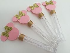 Minnie Mouse Pink And Gold Bubbles Birthday Party Goodie Bag Favors