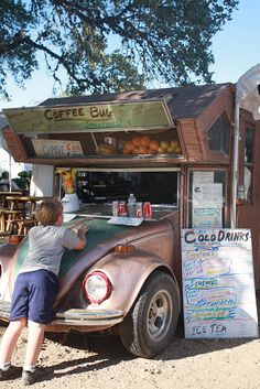 car turned coffee shop....hahaha oh man this would be an awesome idea to try out