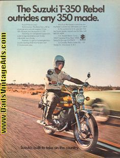 1971 Suzuki T-350 Rebel Motorcycle Ad