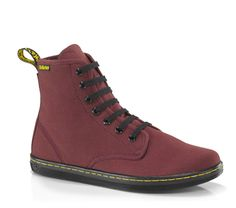 Dr Martens SHOREDITCH CHERRY RED CANVAS - Doc Martens Boots and Shoes