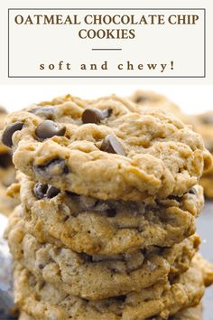 Oatmeal Chocolate Chip Cookie Recipe, Oatmeal Cookie Recipes, Easy Cookie Recipes, Chocolate Recipes, Baking Recipes, Simple Oatmeal Cookie Recipe, Soft Oatmeal Raisin Cookies, Best Oatmeal Recipe, Desserts With Chocolate Chips
