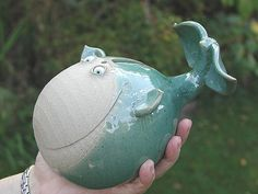 Whale Money Box   hand-made pottery from Muggins Pottery in Leicestershire - wedding gifts, birthday presents, christening presents and anniversary gifts.