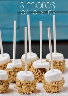 S'mores on a Stick - super cute idea. I love s'mores more than any other adult I know. :-)