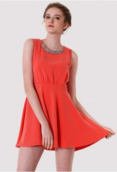 Sequins Collar Red Dress