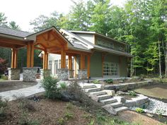 New garage and timberframe breezeway + landscaping Integrity Construction Services, Inc. Home Addition Plans, Garage Addition, Home Additions, Metal Building Homes, Building A House, Rustic Arbor, Covered Walkway, Carport Designs, Backyard Paradise