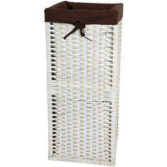 28 Inch Natural Fiber Laundry Hamper White, Width 12 Inches Oriental Furniture Hampers H