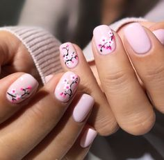 By Olive & June - Cherry blossom nail art. By Olive & June - Cherry blossom nail art. By Olive & June - Cherry blossom nail art. By Olive & June - Floral Nail Art, White Nail Art, White Nails, Trendy Nail Art, Stylish Nails, Cherry Blossom Nails, Cherry Blossoms, Cherry Nail Art, Korean Nails