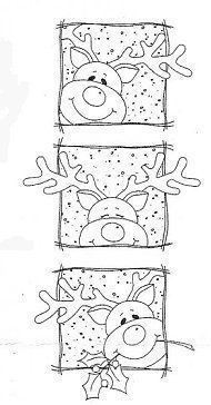 Peeking Rudolph Squares Rubber Stamp | Craft ~ Your ~ HomeCraft ~ Your ~ Home
