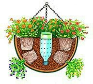 Flower basket watering idea. Add landscape fab + rock/vermiculit
