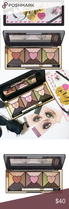 💕💋Too Faced Love Eye Shadow Pallet💋💕 MORE TO LOVE: • Advanced slurry technology transforms a liquid powder blend into silky, lightweight powders for multidimensional, intense color payoff • 15 passionately pigmented with shades in shimmer, pearl and matte finishes • Includes an exclusive, full size black Perfect Eyes Eye Liner dressed in Love • Signature how-to Glamour Guide offers step-by-step application instructions for creating six love-worthy looks Too Faced Makeup Eyeshadow