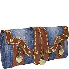 Ashley M Heart Zipped Denim Clutch.  US $36.00