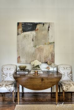 Secrets of Segreto - - New Orleans Influence - one color palette - abstract art by Paula Landrem - wide plank walnut floors