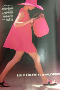 Pink! I would love this all for this summer.  A-line dress by Linda Jackson. Moray hat.  Furla bag. Charles Jourdan sandals.  Vogue Australia June 1989. Photo by Monty Coles.