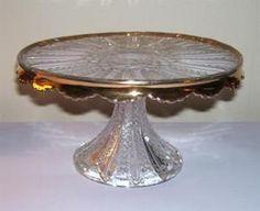 EAPG Duncan Mardi Gras Cake Stand Gold 1890s