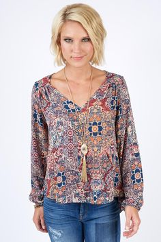 Gavi Print V Top love the colors and style both, really want to get this shirt Love