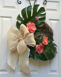 Excited to share this item from my shop: Spring Wreath/Summer Wreath/ Tropical leaves Wreath/Front Door Wreath/ green coral pink cream taupe/ Wreath with Burlap Bow/ Everyday Wreath Christmas Wreaths, Christmas Decorations, Diy Playground, Tropical Christmas, Olive Garden, Spring Door, Brick Patterns, Burlap Wreath, Bow Wreath