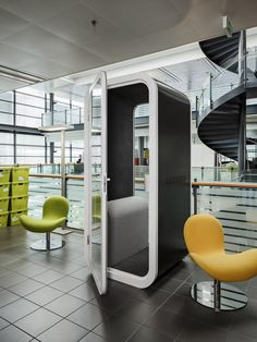 Framery build sound proofed phone booths for offices or commercial spaces. These customisable, moveable and free-standing booths are great for a quiet space for a confidential phone or video call - complete with power point.