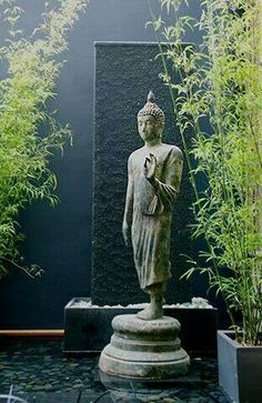 What's new at Living Green - Buddha. Having a little Zen garden would be so wonderful. Lotus Buddha, Art Buddha, Buddha Buddhism, Dream Garden, Garden Art, Standing Buddha, Meditation Garden, Meditation Corner, Meditation Space