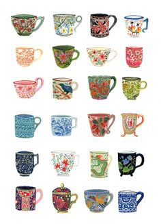 Teacup Collection for The Enormous Tiny Art Show #15, Nahcotta Gallery, illustration by Becca Stadtlander.