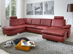 Lambada rohová sedací souprava vínová / Red living room sofa