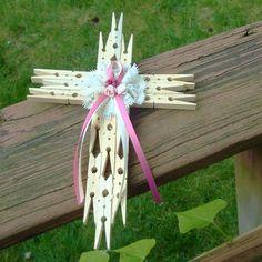 Clothes Pins Crosses, Clothes Pin Crosses, Diy Clothes Pins Crafts, Clothes Pin Cross Diy, Clothespin Wreath, Clothes Pin Art, Clothespin Cross Diy, ...