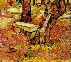"Vincent van Gogh. ""The Stone Bench in the garden at Saint-Paul Hospital."""