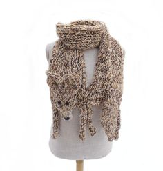 Coyote scarf animal scarf shawl wolf brown white neckwarmer knit knitted wrap for animal lovers winter gift wild animal for her for him Brown-beige-white coyote, knitted of soft chunky yarn, with plastic black nose and brown eyes Beautiful winter gift and utilitarian soft shawl. Perfect accessory for her but for him too! Length with paws and tail: 75 (190 cm), without head, tail and paws (only body): 61 (155 cm) Max. body width: 7.25 (18 cm) Handmade with love in a smoke-free house. Rea...